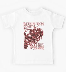Four Horsemen of the Apocalypse, Durer, Retribution Cometh & Hell's Close behind! Biblical, red shadow on black Kids Tee