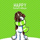Parti Labradoodle Scarf Happy Howl-i-days by offleashart