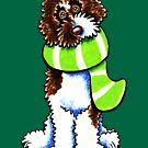 Chocolate Parti Labradoodle Happy Striped Scarf by offleashart