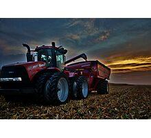 Sunset Corn Harvest Photographic Print