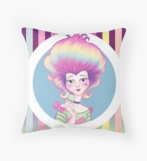 Marie Antoinette with Macaron on violet background Throw Pillow