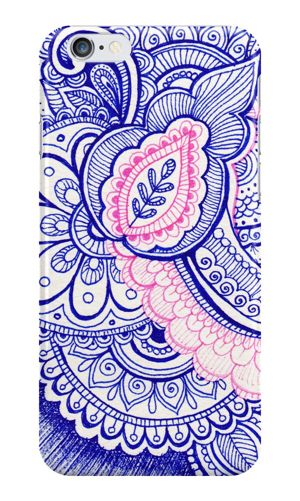 "Blue Henna Tattoo: ""Hot Pink And Turquoise Blue Mandala Henna Tattoo Design"