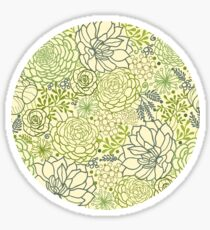 Succulent garden line art pattern Sticker