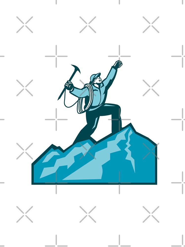 Mountain Climber Summit Retro by patrimonio