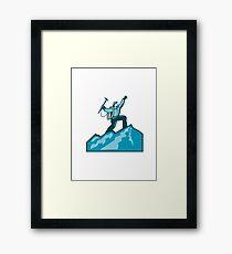 Mountain Climber Summit Retro Framed Print