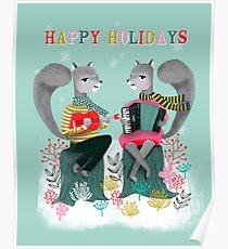 Squirrels' Christmas by Andrea Lauren  Poster