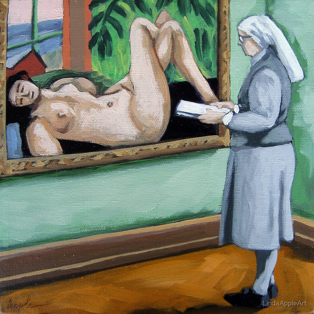 A Different View nun viewing classics art museum series by LindaAppleArt