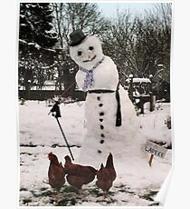 Snow lady and hens Poster