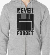 Floppy Disk Never Forget Zipped Hoodie