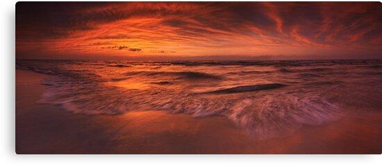 Colorful dramatic sunset over lake Huron panorama art photo print by ArtNudePhotos