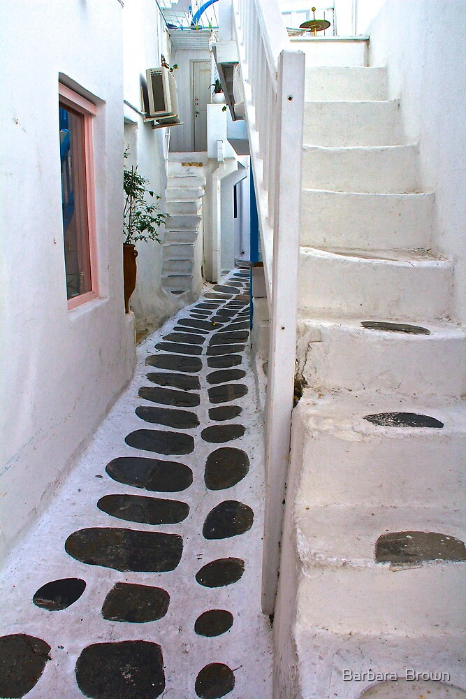Streets of Mykonos by Barbara  Brown
