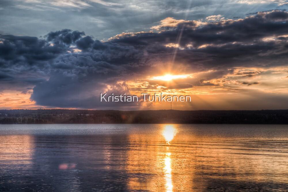 Sundown over an lake by Kristian Tuhkanen