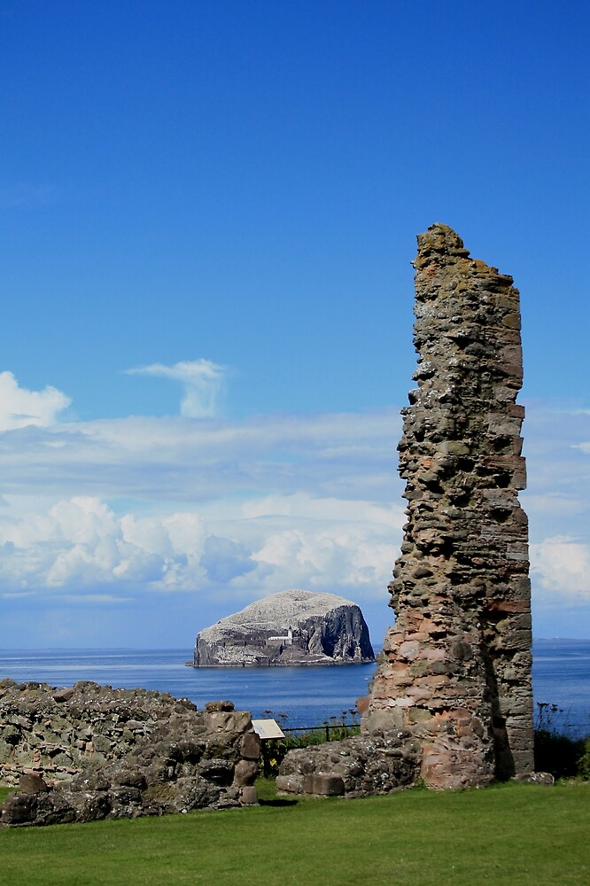 Towards the Bass Rock from Tantallon Castle by Pat Millar