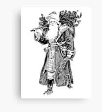 Victorian Santa Brings Christmas Presents and Christmas Trees in Christmas Long Ago. Canvas Print