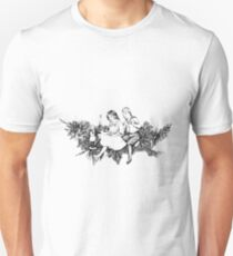 Victorian Children At Christmas Time, Sitting on a Christmas Garland. Unisex T-Shirt