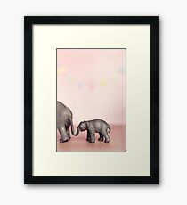 Pink Elephant and her Bub Framed Print