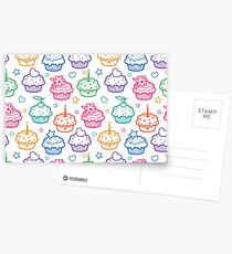 Colorful doodle cupcakes pattern Postcards