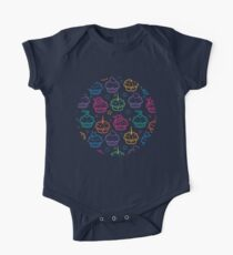 Colorful doodle cupcakes pattern One Piece - Short Sleeve