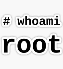 whoami root - Black on White for System Administrators Sticker