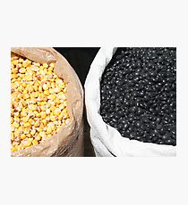 Black Beans and Yellow Corn Photographic Print