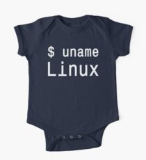 uname Linux - The only true answer - White on Black Design Kids Clothes
