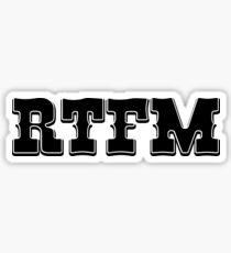 RTFM - Western Style Black Font Design for Coomputer Geeks Sticker