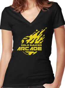 GOLD SAUCER ARCADE Women's Fitted V-Neck T-Shirt