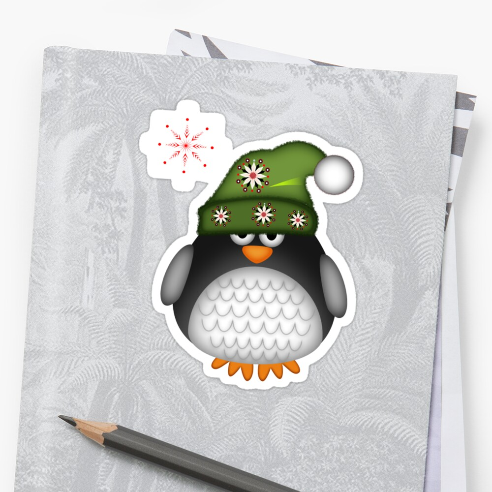 Cute Green Hat Baby Penguin by walstraasart