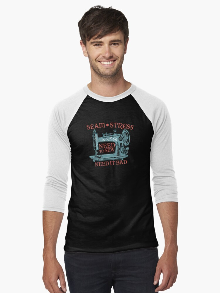 Funny seamstress vintage sewing machine Men's Baseball ¾ T-Shirt Front