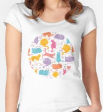 Colorful cats silhouettes pattern Women's Fitted Scoop T-Shirt
