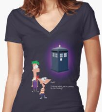 Hey Ferb, I Know What We're Going to Do Today Women's Fitted V-Neck T-Shirt