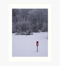 red postbox white snow Art Print