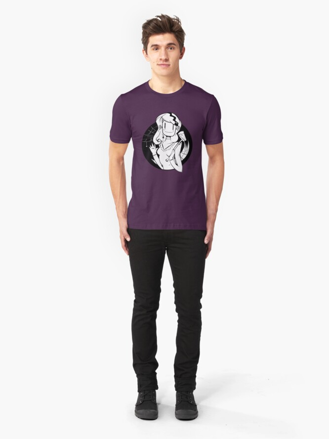 Alternate view of Lady Frankenstein- Happy Halloween Slim Fit T-Shirt