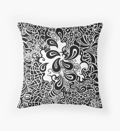 Black psychedelised Paisley Throw Pillow