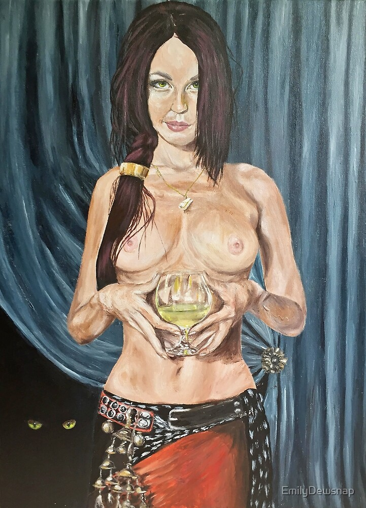 Poison - young alchemist holding a wine glass full of poison by EmilyDewsnap