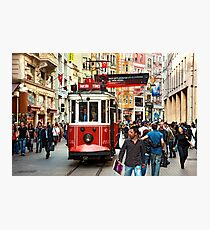 The famous red tram of Istiklal Photographic Print