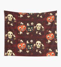 Halloween pumpkin cat skull vintage Wall Tapestry