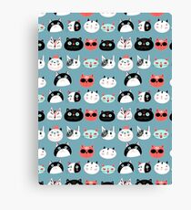 pattern amusing portraits of cats Canvas Print