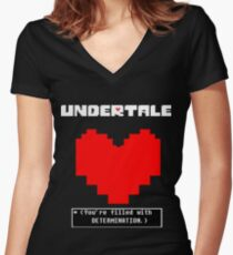 Undertale: Filled with DETERMINATION Women's Fitted V-Neck T-Shirt