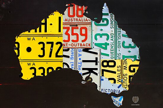 Australia Map Poster.Australia License Plate Map Posters By Designturnpike Redbubble