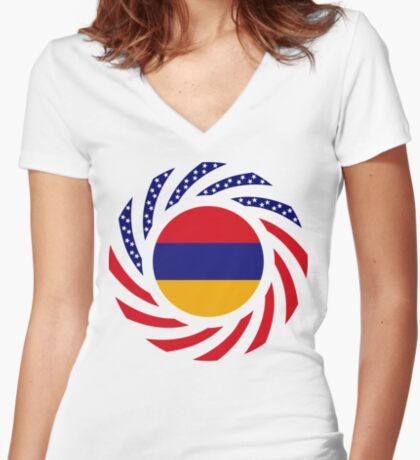 Armenian American Multinational Patriot Flag Series Fitted V-Neck T-Shirt