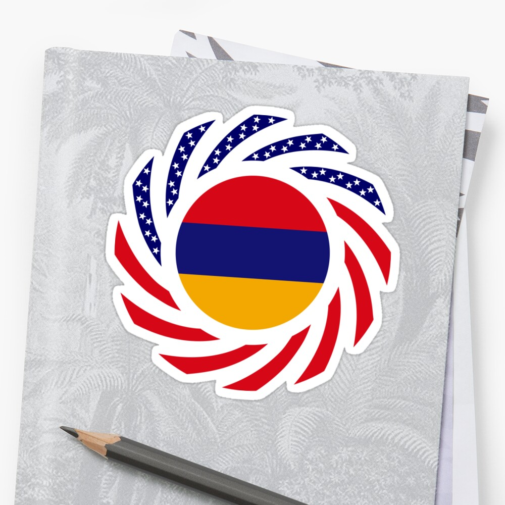 Armenian American Multinational Patriot Flag Series Sticker