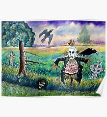 Halloween Field with Funny Scarecrow Skeleton Hand and Crows Poster