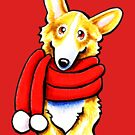 Corgi Happy Red Scarf by offleashart