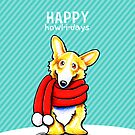 Corgi Red Scarf Happy Howl-i-days by offleashart