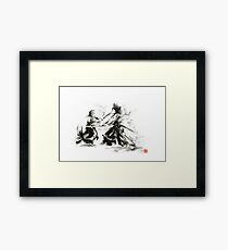 Samurai wild fight old japan bushido katana painting Framed Print