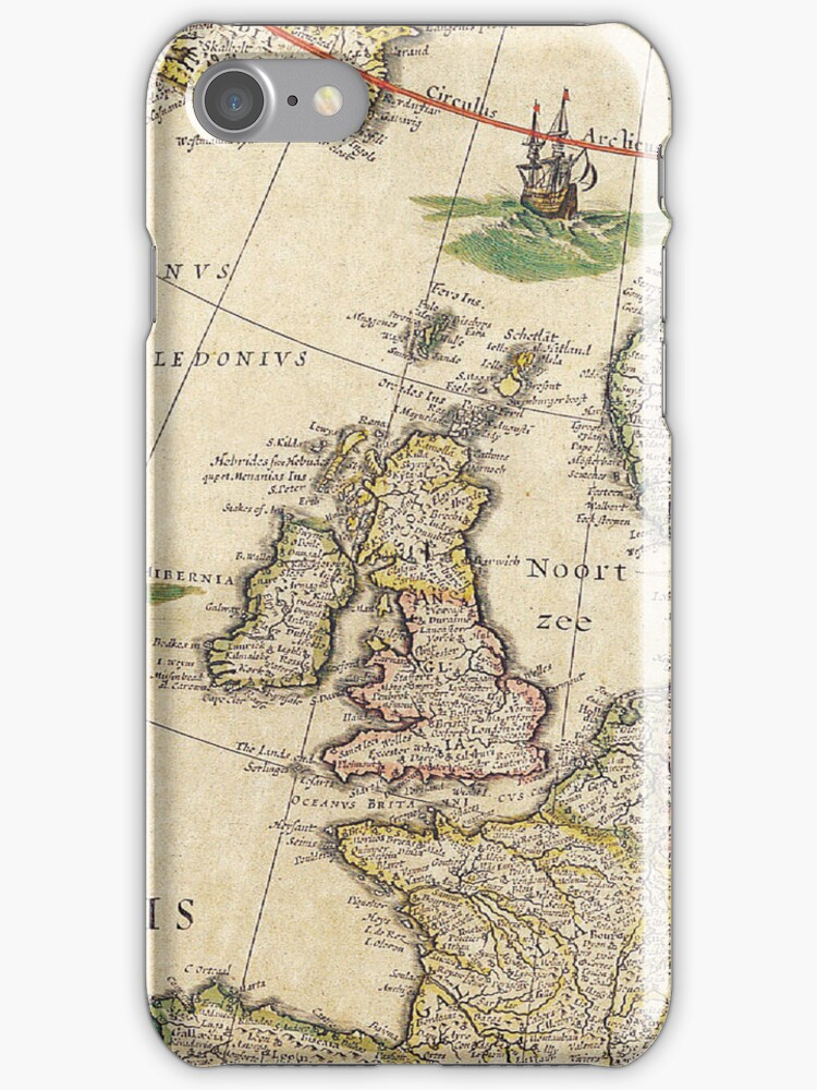 Vintage Antique Map of the United Kingdom Circa 1650 by pjwuebker