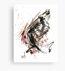 Samurai ronin wild fury bushi bushido martial arts sumi-e original ink painting artwork Canvas Print