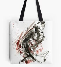 Samurai ronin wild fury bushi bushido martial arts sumi-e original ink painting artwork Tote Bag