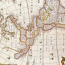 Vintage Map of America Circa 1676 by pjwuebker